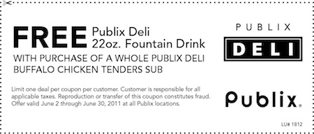 publix buffalo Free Drink With Sub Purchase At Publix