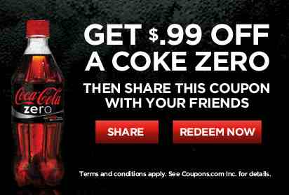 photo about Coca Cola Printable Coupons known as No cost Coke Zero with Printable Coupon