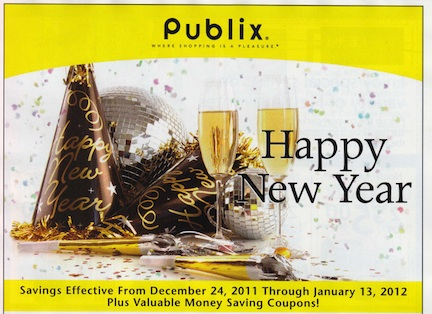 yellow new year Publix Yellow Advantage Buy Flyer Happy New Year 12/24   1/13