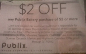 bakery coupon Super Quick Giveaway   Win $2 Publix Bakery Coupons
