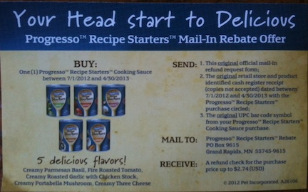 progresso rebate Progresso Recipe Starters Rebate   Better Than Free At Publix