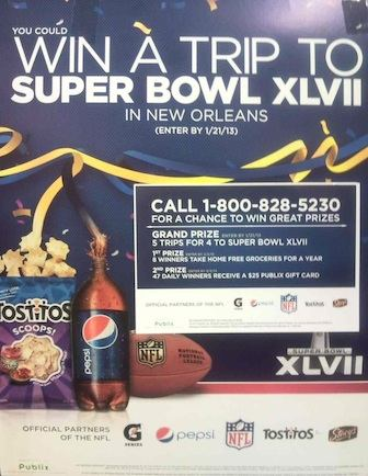 Pepsi Promo Super Bowl Publix copy 2 Publix Sweepstakes   Win A Trip To Super Bowl XLVII