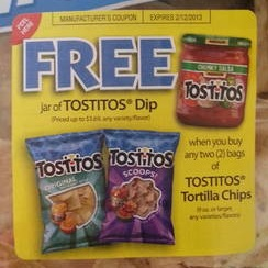 Tostitos Coupon for Canada. NEW Save $ off Tostitos Tortilla Chips AND Tostitos Salsa Save $ off Tostitos tortilla chips Save $ off SMARTFOOD Delight popcorn, Simply DORITOS tortilla chips, Simply TOSTITOS tortilla chips OR STACY'S Organic pita chips Available in Print.