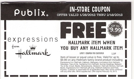 Publix Hallmark coupon copy Publix Coupon   BOGO Hallmark Items