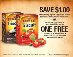 triscuit copy 300x234 BOGO Triscuit Coupon When You Share With Friends