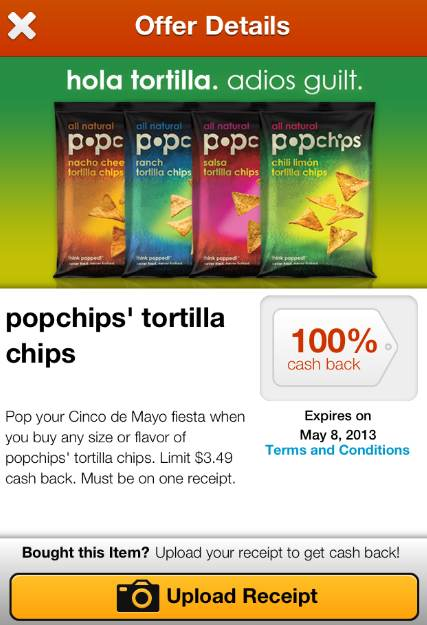 Popchips Free Popchips With 100% Cash Back Endorse Offer