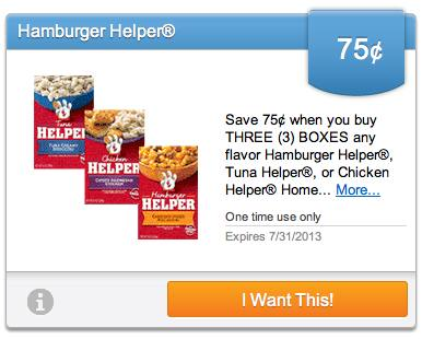 Hamburger Helper New Upromise eCoupons To Load For July