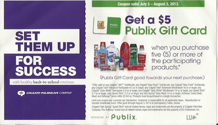 publix rebate copy Coupon For $5 Publix Gift Card With 5 Colgate/Palmolive Products