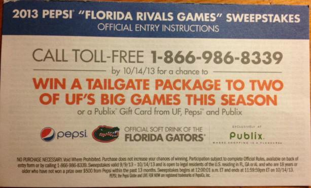 Sweeps1 2013 Pepsi Florida Rivals Games Sweepstakes At Publix