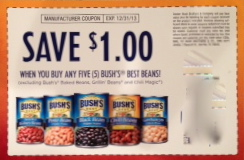 Coupons for beans have an average value of $$ off. The stock up price for plain beans is under $ per can and BBQ beans.