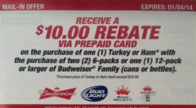 Beer Rebate Budweiser Rebate   Possible Free Beer With Purchase Of Ham Or Turkey For Some