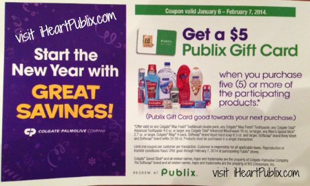 colgate palmolive publix coupon Publix Coupon For Colgate Palmolive Products   Get $5 Publix Gift Card