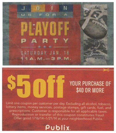 publix coupon playoff Publix Coupon   $5/$40 Good Through 1/21