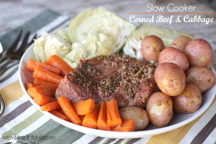 slow cooker corned beef cabbage 2 Slow Cooker Corned Beef and Cabbage