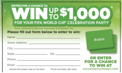 soccer sweeps Great New Publix Sweepstakes   Win Up To A $1000 Publix Gift Card!
