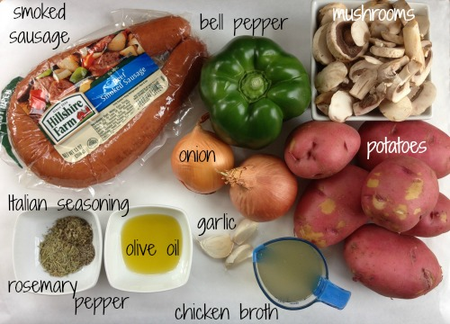 sausage bake ingredients Sausage, Pepper & Onion Bake