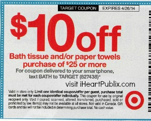 target coupon 2 Upcoming Target Coupon   $10 Off Bath Tissue/Paper Towels