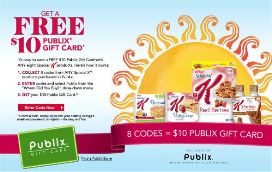 special k publix Earn A $10 Publix Gift Card When You Buy Special K® Products!