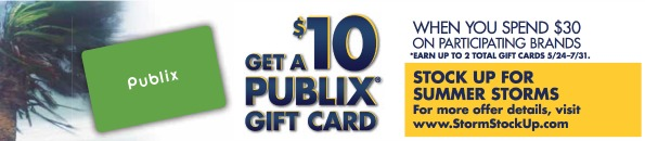 summer stock up publix Heads Up   Earn A $10 Publix Gift Card With The Stock Up For Summer Storms Promo