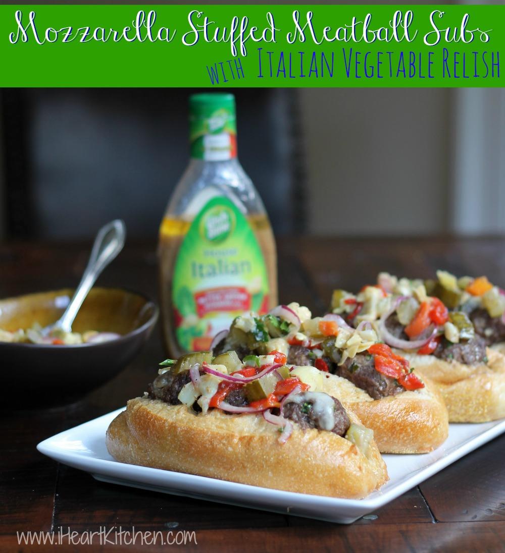 Mozzarella Stuffed Meatball Subs with Italian Vegetable Relish -