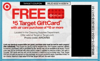 air tq Upcoming Target Coupon   $5 Gift Card With $15 Air Care Purchase