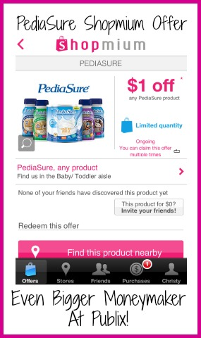 pediasure PediaSure Shopmium Offer   Even Bigger Moneymaker At Publix