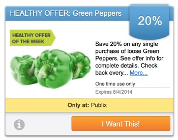 publix bell pepper Publix Healthy Offer From Upromise   Green Peppers