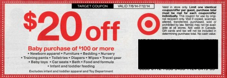 target baby Upcoming Target Coupon   $20 Off Baby Purchase