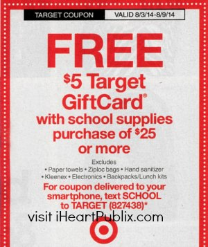 target coupon Upcoming Target Coupon   $5 Gift Card With School Supply Purchase