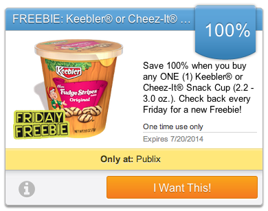 upromise friday freebie Friday Freebie Offer   Free Keebler or Cheez It Snack Cup