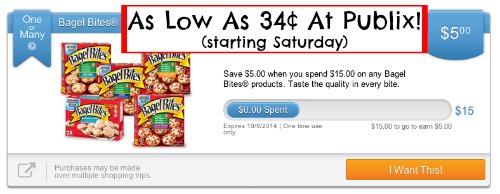 bagel bites Bagel Bites As Low As 34¢ Starting Tomorrow At Publix