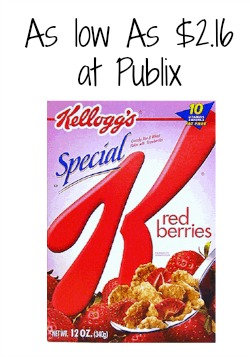Kellogg's Special K cereal coupon and nice deal at Publix.