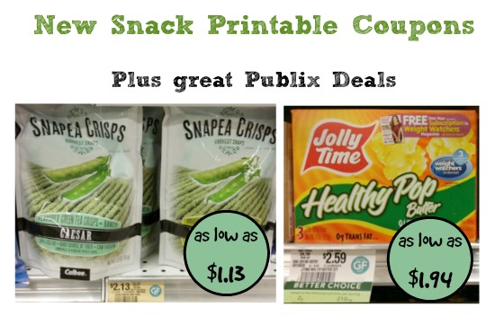 New Snack Printable Coupons and Great Publix Deals