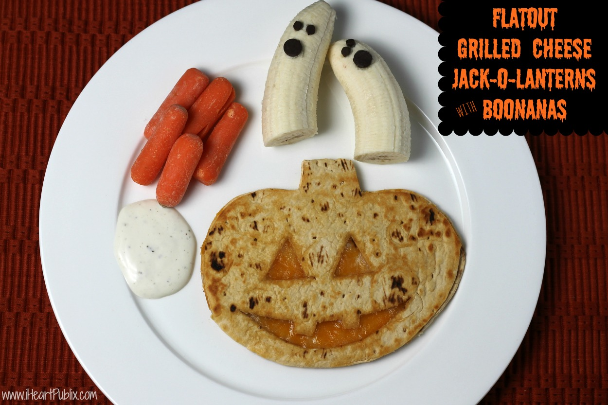 Flatout Grilled Cheese Jack-o-Lanterns & Boonanas