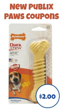 New Publix Paws Coupons For October - Nylabone Dog Chews Just $2