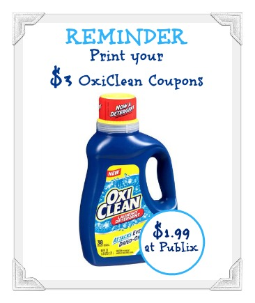 Reminder To Print Your 3 Oxiclean Coupons For Publix Sale