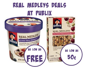 Great Deals on Quaker Real Medleys Bars and Oatmeal at Publix
