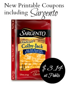 New Printable Coupons Including Sargento Cheese + Publix Deal