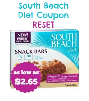South Beach Diet Snack Bars Coupon RESET