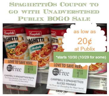 SpaghettiOs Coupon and Upcoming Publix BOGO Sale - As Low As 20¢