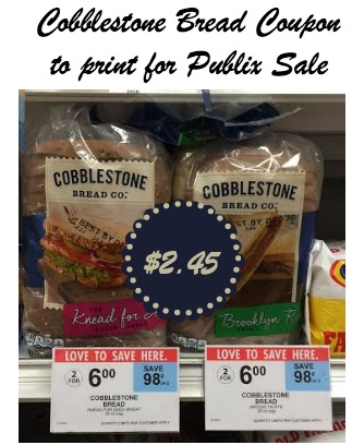 Cobblestone Bread Coupon and Publix Deal - Save Over $1 Off Regular Price