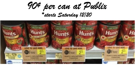 hunts-Great Hunts Tomatoes Deal at Publix Starting Tomorrow 12/20 - Just 90¢