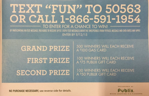 New Publix Sweepstakes – $100 Gas Card