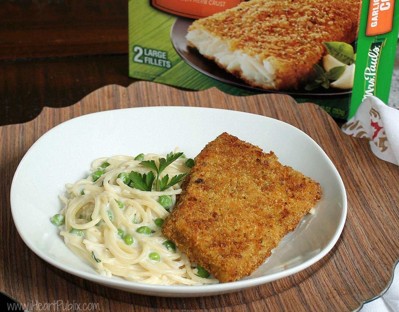 Crispy Cod with Creamy Garlic Parmesan Pasta