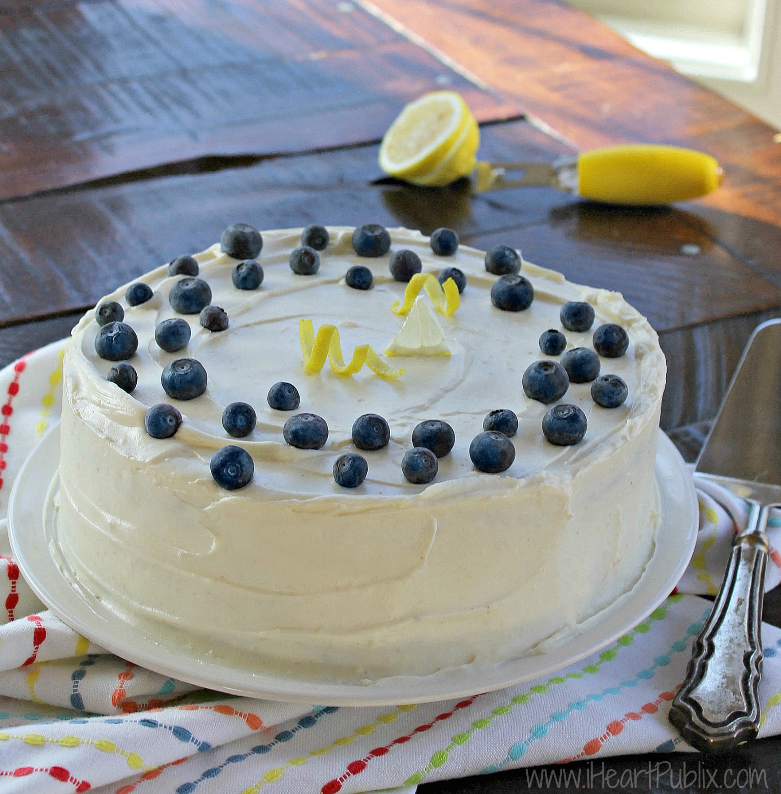 Buttercream Frosted Lemon Blueberry Layer Cake Perfect Dessert For