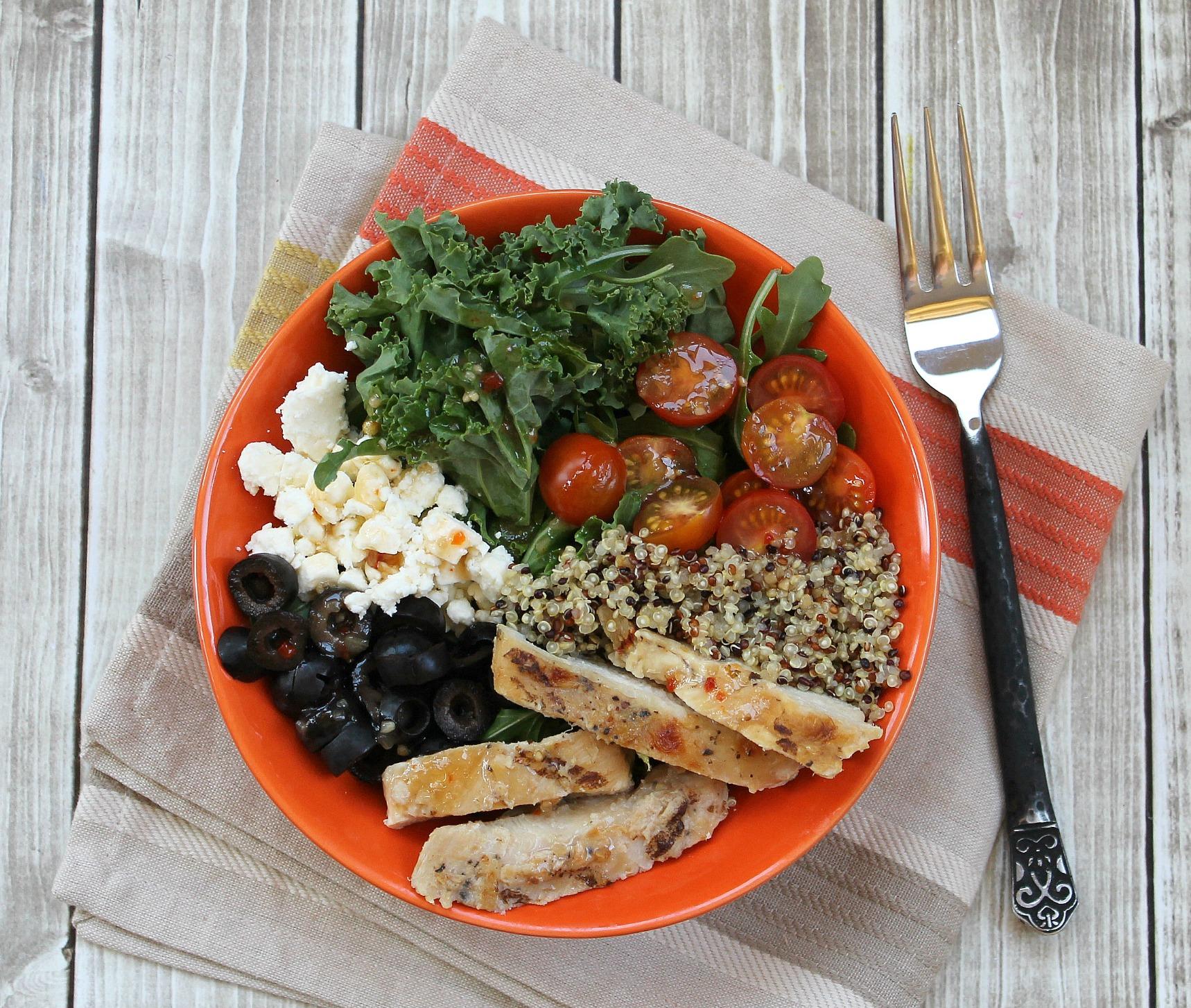 Kale Quinoa Chicken Salad Delicious Economical One Bowl Meal