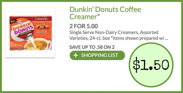 image regarding Dunkin Donuts Coffee Printable Coupons referred to as Dunkin Donuts Espresso Creamer coupon, I Centre Publix