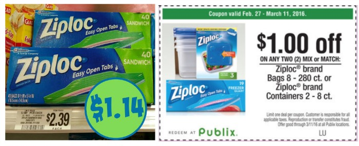 New Ziploc Coupons Matching Publix Coupon Great Prices