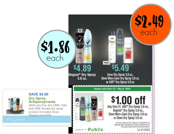 Awesome Deal On Dry Spray Deodorant At Publix With New High Value Coupon!