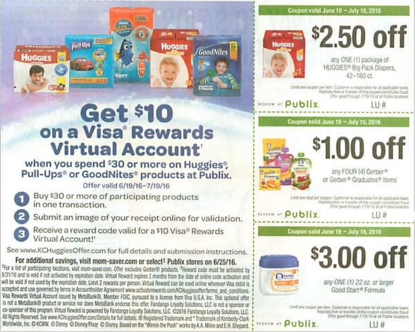 Publix Baby Coupons In This Weekend S Inserts New Huggies Rebate Offer Earn A 10 Visa Reward
